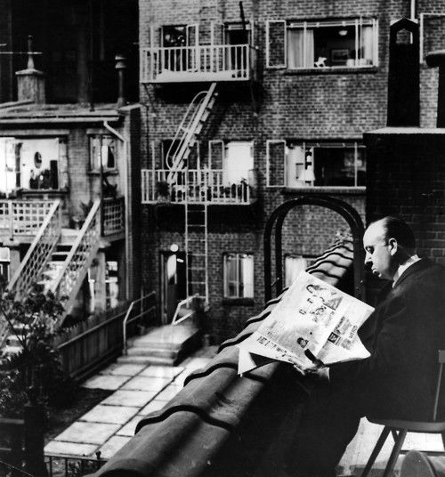 Alfred Hitchcock on the set of Rear Window (1954)  (Source: reelartpress)